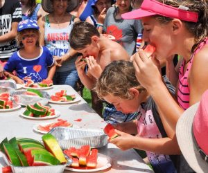 Watermelon eating contest at the Coogee Beach Festival,Western Australia/Watermelon Eating Contest/COOGEE,WA,AUSTRALIA-JANUARY 26,2016: Kids watermelon eating contest in Coogee, Western Australia.