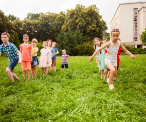 The children compete in physical education in summer camp